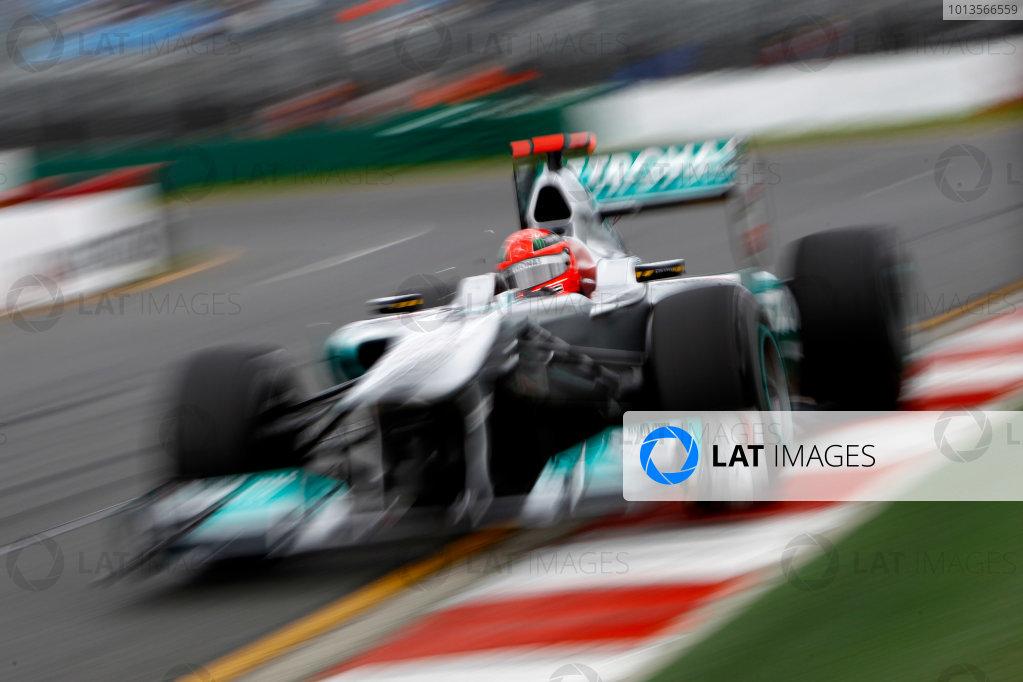 Albert Park, Melbourne, Australia 25th March 2011. Michael Schumacher, Mercedes GP W02. Action.  World Copyright: Glenn Dunbar/LAT Photographic ref: Digital Image _G7C3349