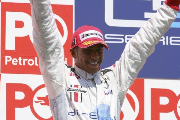 2006 GP2 Series. Round 10.Istanbul Park, Istanbul Turkey.27th August 2006.Sunday Race.Lewis Hamilton (GBR, ART Grand Prix) celebrates his second position. World Copyright: Lorenzo Bellanca/GP2 Series Media Service.ref: Digital Image ZD2J8612