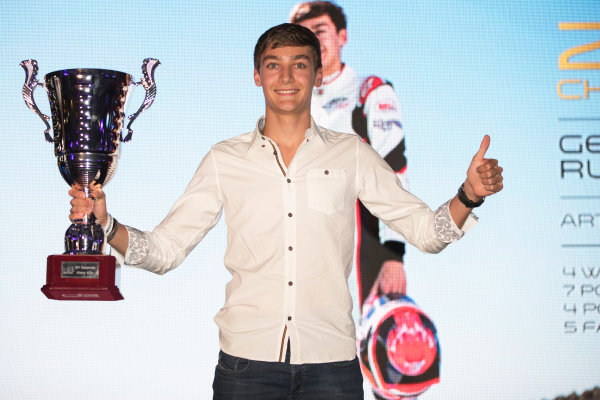 2017 Awards Evening. Yas Marina Circuit, Abu Dhabi, United Arab Emirates. Sunday 26 November 2017. George Russell (GBR, ART Grand Prix).  Photo: Zak Mauger/FIA Formula 2/GP3 Series. ref: Digital Image _56I3869