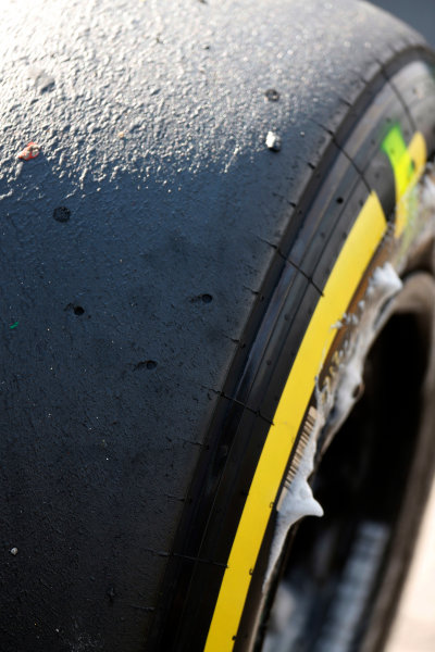 Spa-Francorchamps, Spa, Belgium. Saturday 22 August 2015. Used tyres after Qualifying. World Copyright: Alastair Staley/LAT Photographic ref: Digital Image _R6T5621