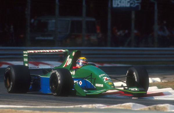 1991 Italian Grand Prix.Monza, Italy.6-8 September 1991.Roberto Moreno (Jordan 191 Ford) at Parabolica. He exited the race on lap 3 after a spin with brake problems. This was his first drive for Jordan, after being disposed of by Benetton who had stolen Michael Schumacher.Ref-91 ITA 15.World Copyright - LAT Photographic