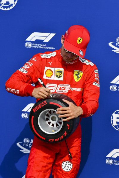 Pole Sitter Charles Leclerc, Ferrari signs the Pirelli Pole Position Award