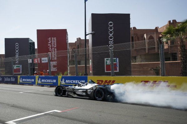 Jake Hughes (GBR), Rookie Test Driver for Mercedes Benz EQ, EQ Silver Arrow 01 does a burn out