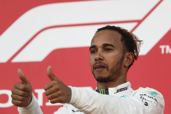 Lewis Hamilton, Mercedes AMG F1, 1st position, on the podium