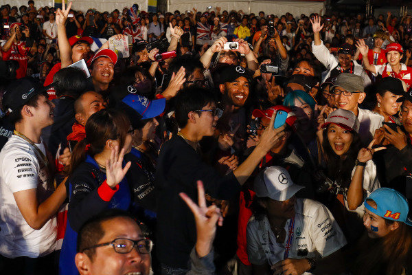 Fans gathered at the stage