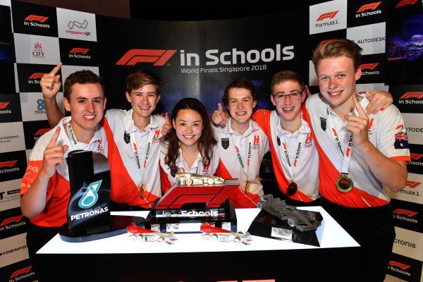 F1 in Schools World Champions Team Horizon celebrate at F1 in Schools World Finals, Resorts World Sentosa, Singapore, Wednesday 12 September 2018.