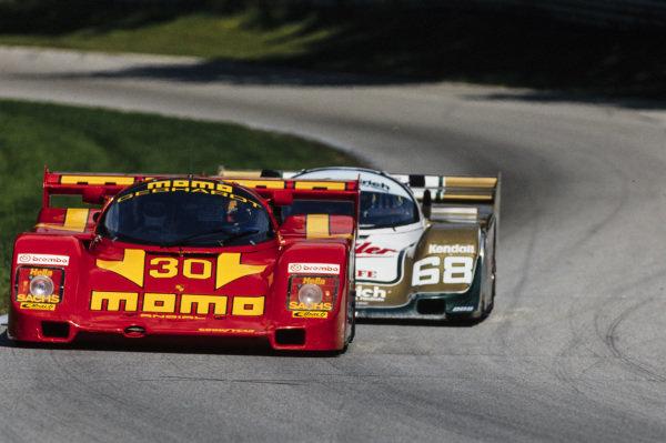 Jean-Louis Ricci / Gianpiero Moretti, Momo/Gebhardt Racing, Porsche 962 C, leads John Andretti / Bob Wollek, Busby Racing, Porsche 962 C.