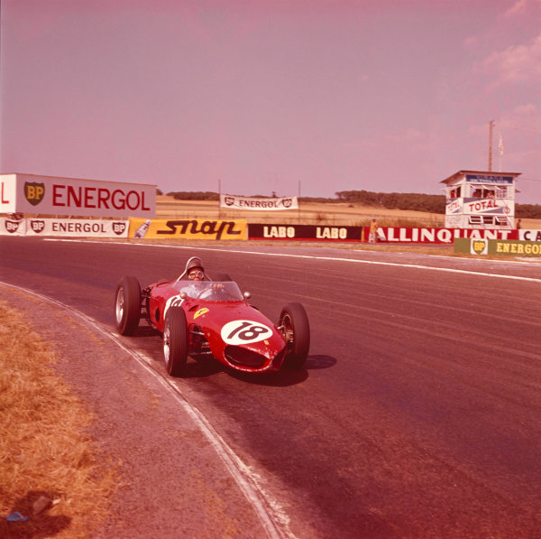 1961 French Grand Prix.Reims, France.30/6-2/7 1961.Richie Ginther (Ferrari Dino 156).Ref-304.A Race Through Time exhibition number 100.World Copyright - LAT Photographic