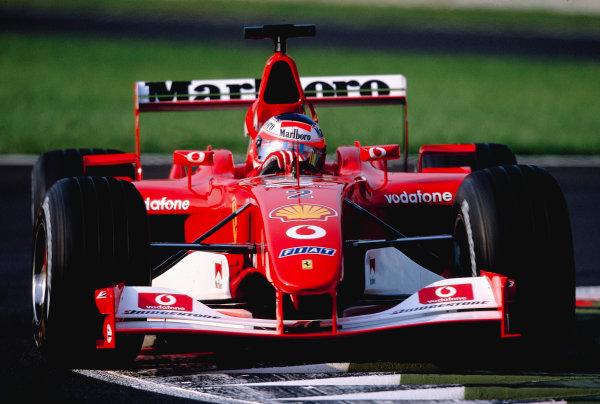 2002 Italian Grand PrixMonza, Italy. 14th - 16th September 2002Rubens Barrichello, Ferrari F2002 - 1st placeWorld Copyright - LAT Photographicref: 35mm Transparency 02_ITA_23