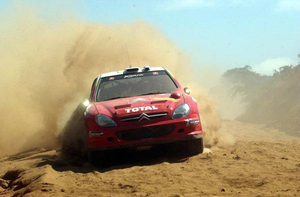 2002 World Rally Championship.Safari Rally, Nairobi Kenya, July 11-14th.Sebastien Loeb on section 11.Photo: Ralph Hardwick/LAT