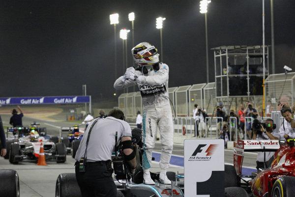 Lewis Hamilton, Mercedes celebrates in parc ferme.