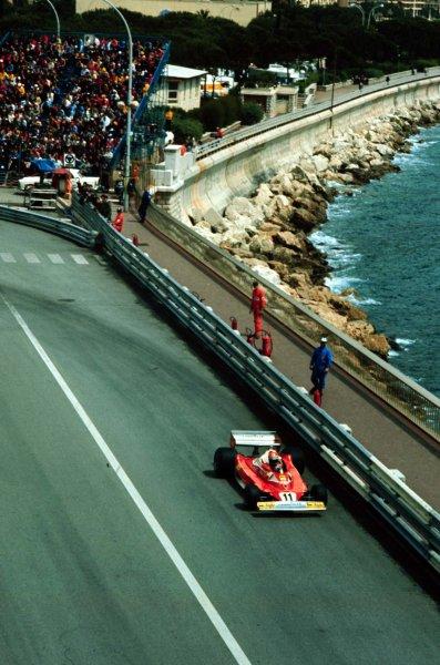 1977 Monaco Grand Prix.Monte Carlo, Monaco.20-22 May 1977.Niki Lauda (Ferrari 312T2) 2nd position.World Copyright - LAT Photographic