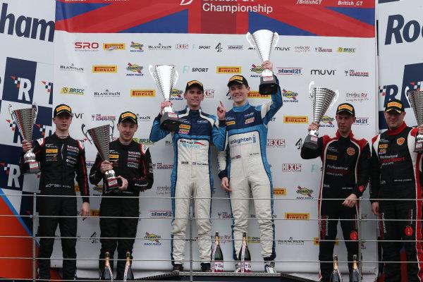 2017 British GT Championship Rockingham, England. 29th-30th April 2017, GT4 Podium - Stuart Middleton / William Tregurtha - HHC Motorsport - Ginetta G55 GT4 wins World copyright. JEP/LAT Images