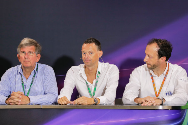 Monte Carlo, Monaco. Friday 26 May 2017. Nigel Geach, Charles Bradley and Peter Bayer, FIA Secretary General for Motor Sport at the F1 Motorsport Network Global Fan Survey Press Conference. World Copyright: Zak Mauger/LAT Images ref: Digital Image _56I6649