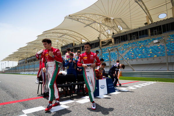 2017 FIA Formula 2 Round 1. Bahrain International Circuit, Sakhir, Bahrain.  Thursday 13 April 2017. Class photo on the grid. Photo: Sam Bloxham/FIA Formula 2. ref: Digital Image _J6I8313