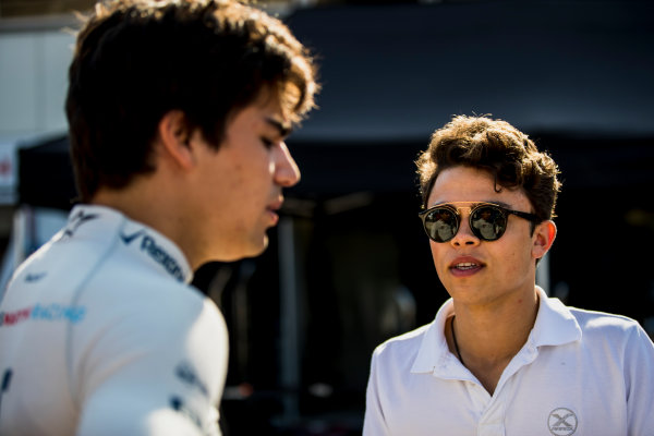 2017 FIA Formula 2 Round 3. Monte Carlo, Monaco. Wednesday 24 May 2017. Nyck De Vries (NED, Rapax) chats with Lance Stroll, Williams. Photo: Zak Mauger/FIA Formula 2. ref: Digital Image _56I5082