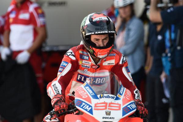 2017 MotoGP Championship - Round 14 Aragon, Spain. Saturday 23 September 2017 Jorge Lorenzo, Ducati Team World Copyright: Gold and Goose / LAT Images ref: Digital Image 13637