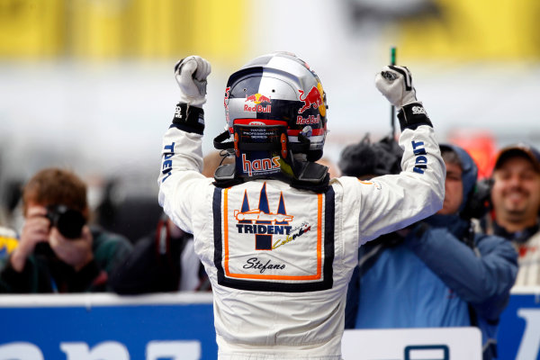 Hungaroring, Budapest, Hungary. 31st July 2011. Sunday Race. Stefano Coletti (MON, Trident Racing) celebrates his victory. Photo: Andrew Ferraro/GP2 Media Service.Ref: _Q0C5094 jpg