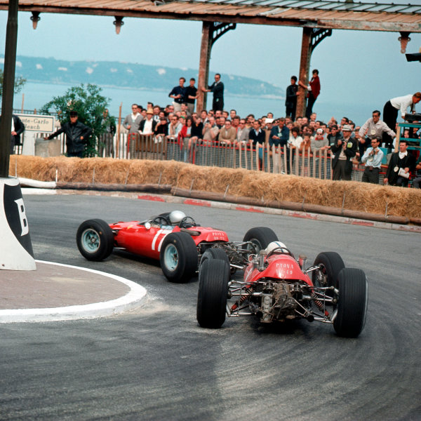 Monte Carlo, Monaco.28-30 May 1965.Lorenzo Bandini (Ferrari 1512) leads John Surtees (Ferrari 158) in station hairpin. They finished in 2nd and 4th positions respectively.Ref-3/1656.World Copyright - LAT Photographic