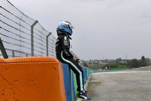 Valtteri Bottas, Mercedes, after crashing out at the start