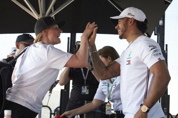 Lewis Hamilton, Mercedes AMG F1, hi fives a fan