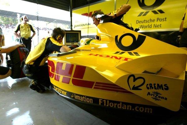 Giancarlo Fisichella (ITA) Jordan EJ12 qualified twelfth.Italian Grand Prix, Monza, 14 September 2002.DIGITAL IMAGE