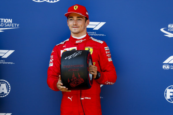 Pole Sitter Charles Leclerc, Ferrari receives the Pirelli Pole Position Award