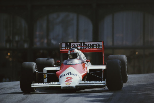Stefan Johansson, McLaren MP4-3 TAG, during practice.