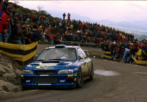 Richard Burns in his Subaru Impreza WRC2000, during leg 2 of the Catalunya Rally 2000.