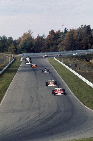 Niki Lauda, Ferrari 312T leads Emerson Fittipaldi, McLaren M23 Ford and Jean-Pierre Jarier, Shadow DN5 Ford.