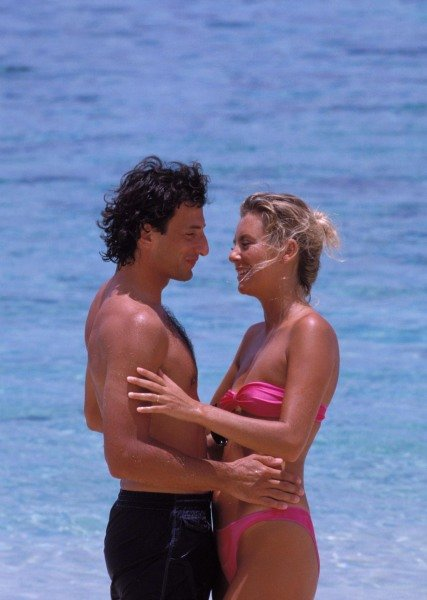 Republic of Fiji. Riccardo Patrese and his wife Susie relax on holiday