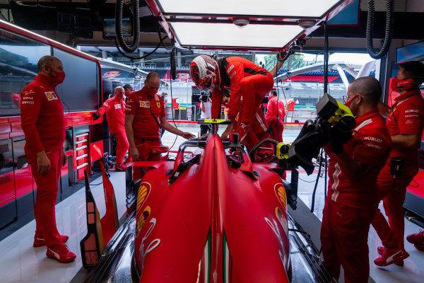 Charles Leclerc, Ferrari SF1000 gets into his car