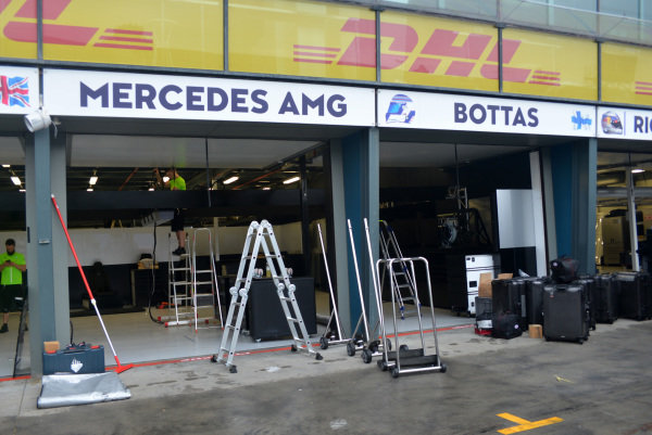 Mercedes AMG F1 garage at Formula One World Championship, Rd1, Australian Grand Prix, Preparations, Albert Park, Melbourne, Australia, Monday 20 March 2017.