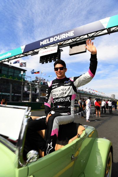 Esteban Ocon (FRA) Force India F1 on the drivers parade at Formula One World Championship, Rd1, Australian Grand Prix, Race, Albert Park, Melbourne, Australia, Sunday 26 March 2017.