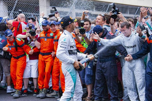 Lewis Hamilton celebrates 2nd place.
