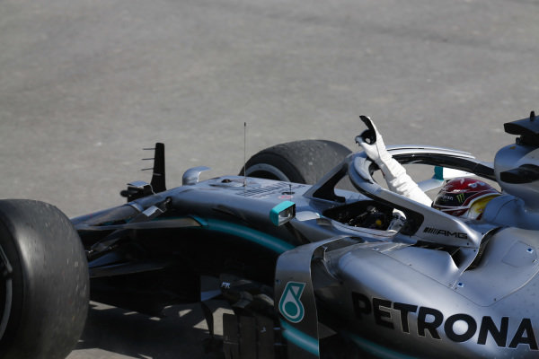 Lewis Hamilton, Mercedes AMG F1 W10, 1st position, celebrates in his cockpit on his way to Parc Ferme at the end of the race
