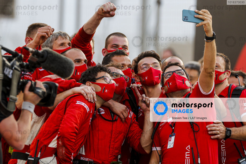 F2 Champion Mick Schumacher (DEU, PREMA RACING) celebrates in Parc Ferme