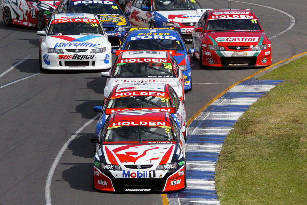2004 Australian V8 Supercars.Non-Championship Round. Albert Park, Melbourne, 5th - 7th March.V8 Supercar driver Mark Skaife leads the field into turn 2. World Copyright: Mark Horsburgh/LAT Photographicref: Digital Image Only