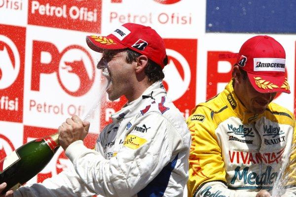 2007 GP2 Series. Round 8.Istanbul Park, Istanbul Turkey. 26th August 2007. Sunday Race.Timo Glock (GER, iSport International) celebrates his victory on the podium. World Copyright: Glenn Dunbar/GP2 Series Media Service.ref: Digital ImageIMG_5973