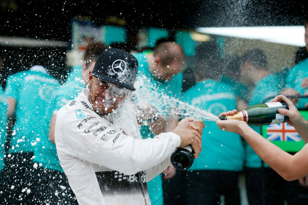 Sochi Autodrom, Sochi, Russia. Sunday 11 October 2015. Lewis Hamilton, Mercedes AMG, 1st Position, celebrates with the Mercedes team. World Copyright: Alastair Staley/LAT Photographic. ref: Digital Image _79P1547