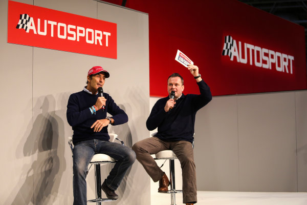 Autosport International Exhibition. National Exhibition Centre, Birmingham, UK. Saturday 13th January 2018. Emanuele Pirro talks to Henry Hope-Frost on the Autosport Stage. World Copyright: James Roberts/JEP/LAT Images Ref: JR3_5368