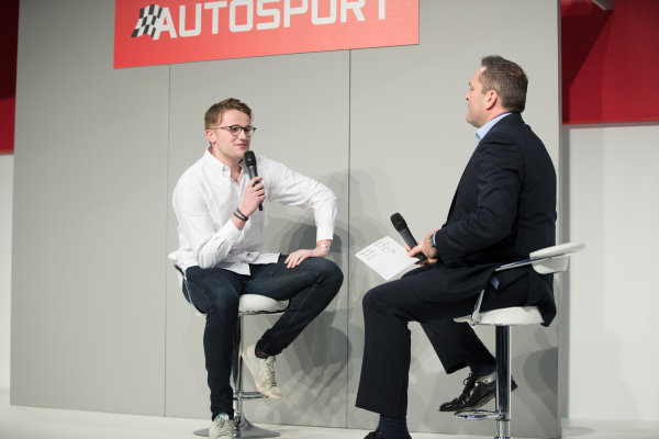 Autosport International Exhibition. National Exhibition Centre, Birmingham, UK. Friday 12th January 2017. Gus Greensmith, British Rally Junior Champion on the Autosport stage with Henry Hope-Frost.World Copyright: Ashleigh Hartwell/LAT Images ref: Digital Image _O3I8604