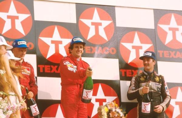 Winner Alain Prost (FRA) McLaren MP4/2, centre Dutch GP, Zandvoort, 26 August 1984 Formula One World Championship 1984.