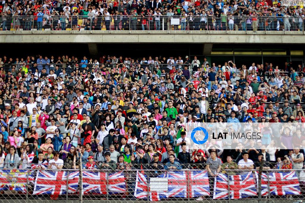Shanghai International Circuit, Shanghai, China Sunday 14th April 2013 Plenty of British support among the crowds in China. World Copyright: Glenn Dunbar/LAT Photographic ref: Digital Image _G7C8232