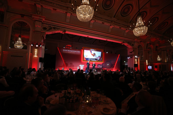 2015 British Racing Drivers Club Awards Grand Connaught Rooms, London Monday 7th December 2015 The guests watch Lewis Hamilton on screen. World Copyright: Jakob Ebrey/LAT Photographic ref: Digital Image Hamilton2
