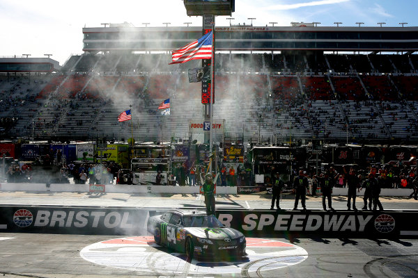 14-15 March, 2014, Bristol, Tennessee USA Kyle Busch, Monster Energy Toyota Camry celebrates his win © 2014, Russell LaBounty LAT Photo USA