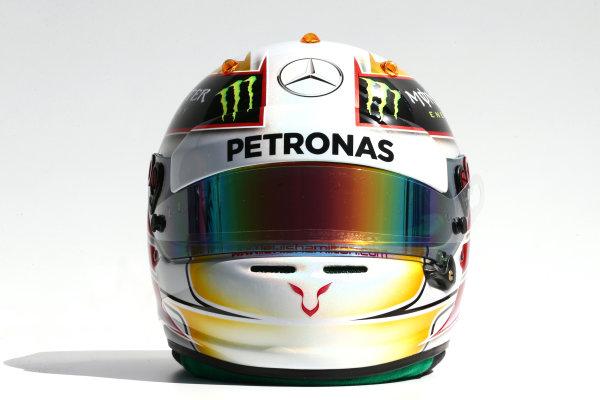 Albert Park, Melbourne, Australia. Thursday 13 March 2014. The helmet of Lewis Hamilton (GBR) Mercedes AMG F1. World Copyright: xpb Images/LAT Photographic. ref: Digital Image 2014helmets10
