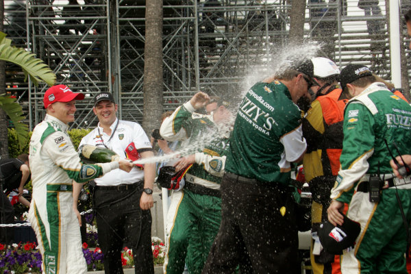 11-13 April, 2014, Long Beach, California USA Mike Coway blasts his teammates with champagne ©2014, Leland Hill LAT Photo USA