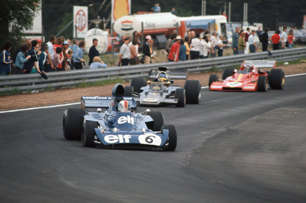 1973 Belgian Grand Prix.  Zolder, Belgium. 18-20th May 1973.  François Cevert, Tyrrell 006 Ford, 2nd position, leads Ronnie Peterson, Lotus 72E Ford, retired, and Jacky Ickx, Ferrari 312B3, retired.  Ref: 73BEL30. World Copyright: LAT Photographic