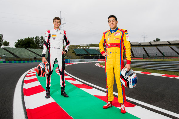 2017 GP3 Series Round 4.  Hungaroring, Budapest, Hungary. Thursday 27 July 2017. George Russell (GBR, ART Grand Prix) and Giuliano Alesi (FRA, Trident).  Photo: Zak Mauger/GP3 Series Media Service. ref: Digital Image _56I0083